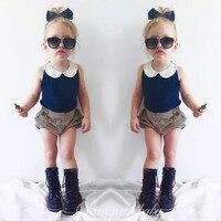 2018 Bleu Revers Gilet Shorts Set Enfant Fille Vêtements Ensembles Enfants mode Filles Vêtements Costume Bébé Fille Vêtements Age1 2 3 4 T 5 T