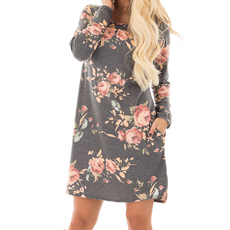 Floral Printed Dress Long Sleeve Mini Dresses Cotton Casual Plus Size
