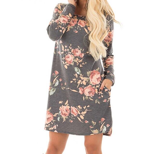 b48dfe3c7f71d47 Женское осеннее платье с цветочным принтом 2018 женское с длинным рукавом  Мини платья хлопок повседневные Большие
