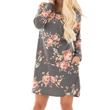 Women Autumn Floral Printed Dress 2017 Female Long Sleeve Mini Dresses Vestido De Festa Cotton Casual Plus Size Vestidos GV845