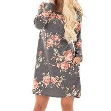 Для женщин осень платье с цветочным принтом 2018 женщин с длинным рукавом Мини-платья хлопок Повседневное плюс Размеры летние платья GV845