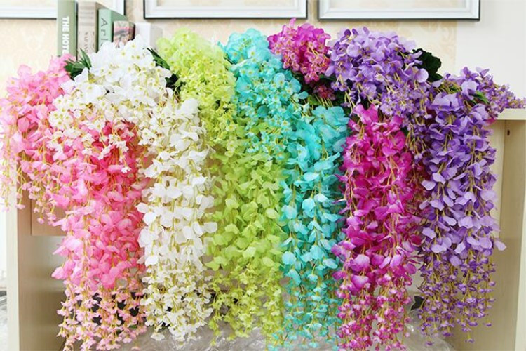 Artificial Ivy Wisteria Silk Flower Vine Garland For Wedding Centerpieces Decorations Bouquet Home Decor Cheap Wholesale