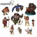 10 unids/lote Moana boneca princesa muñecas juguetes figuras de acción conjunto 2017 Nueva Moana Pua Maui Heihei Oyuncak birthday party supply decoración