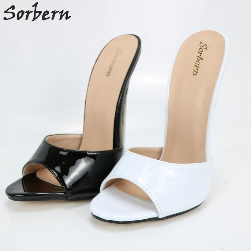 Sorbern Women Sandals Slippers Peep Toe Plus Size Unisex Large Size 36-46 High Thin Metal Heels Cheap Modest Fashion Sandals plus size modest tankini and boyshort bottom