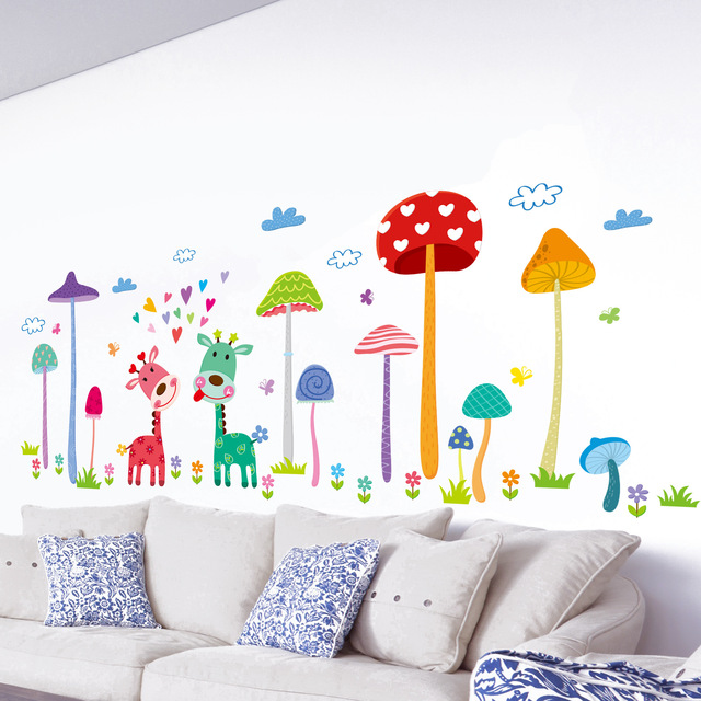 Neue Wandaufkleber Nette Wald Pilze Cartoon Hirsch Kinderzimmer Dekoration  Aufkleber