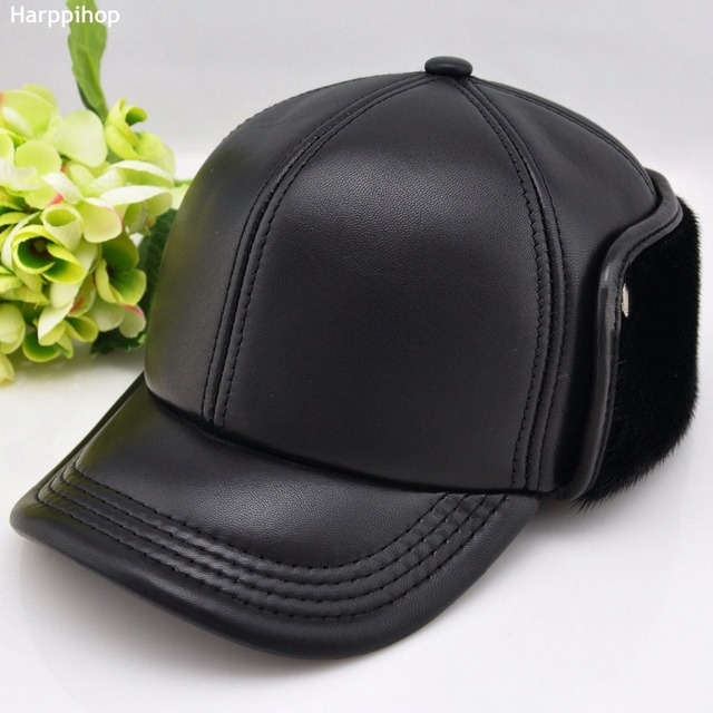 a5810f024ff Seal cap sheepskin baseball cap quinquagenarian genuine leather hat male  autumn and winter hat ear protector