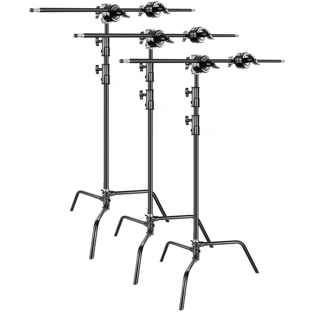 Neewer 3-pack Heavy Duty pied de projecteur C-Stand-Max. 10 pieds/3 mètres Réglable avec 3.5 pieds Bras de Maintien et Grip Tête