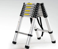 2.6m retractable folding aluminum herringbone ladder, multi purpose home/library/engineering ladder