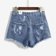 2017 летние шорты новая мода ковбой Отверстия шорты Середины Талии тонкие шорты случайные свободные джинсовые изношенные шорты для горячей продажи