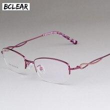 8f89a5aeba BCLEAR de gafas Vintage mujeres medio marco miopía gafas óptica marcos de  gafas de color rosa claro de espectáculo rojo oculos d.
