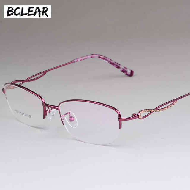 BCLEAR Vintage Eyeglass Women Half Frame Myopia Optical Eyewear ...