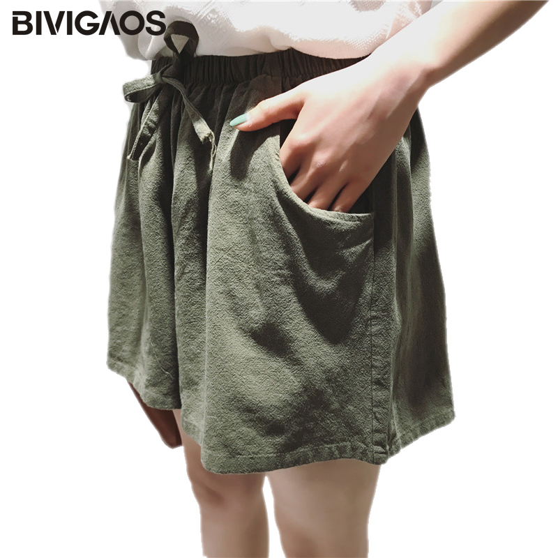 BIVIGAOS 2019 New Drawstring Cotton Linen   Shorts   Women Summer Casual Wide Leg   Shorts   Skirt Elastic Waist Loose   Short   Plus Size