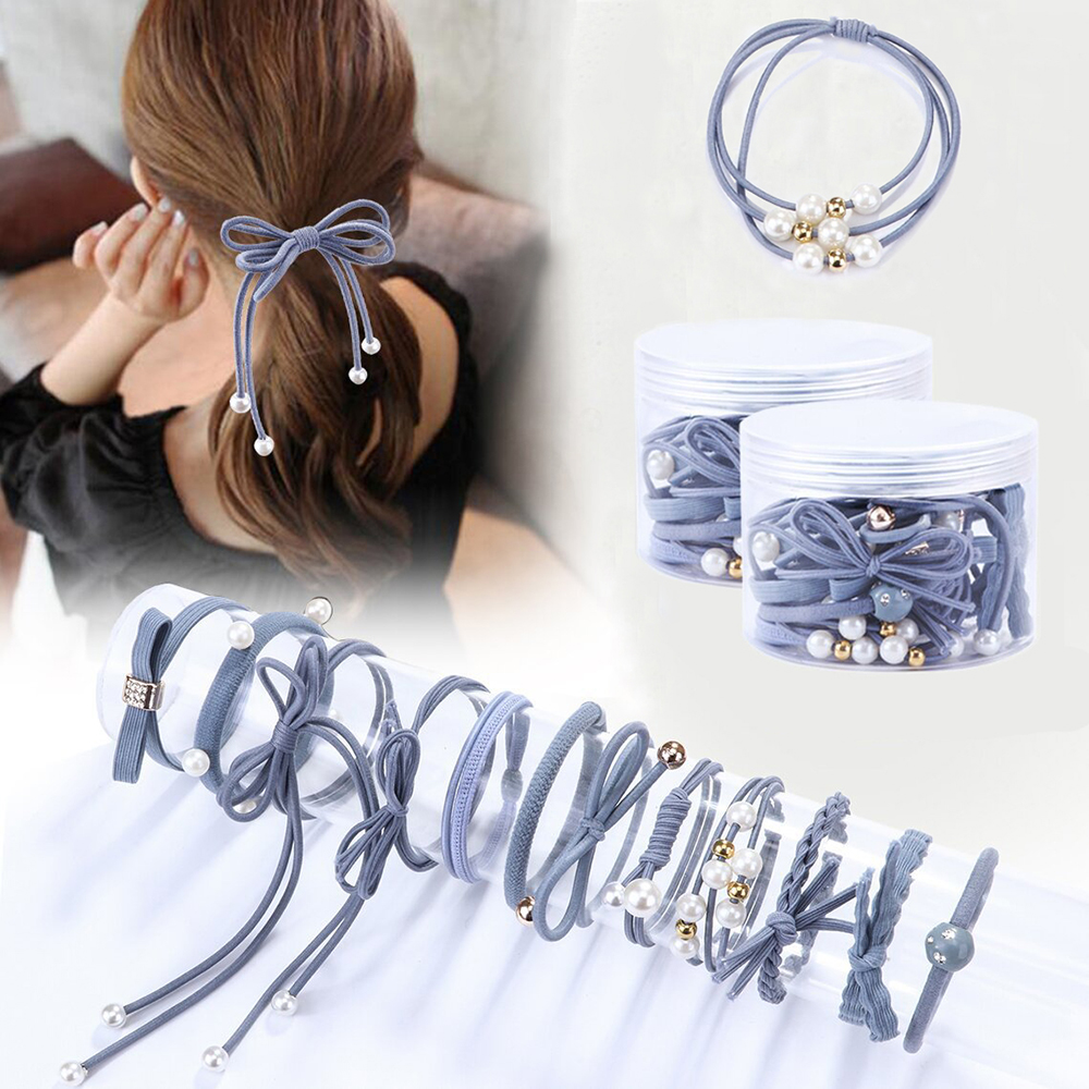 Hair Stretch Women Rope Bands Ties Holder 12pcs Pearl High Ponytail Elastic