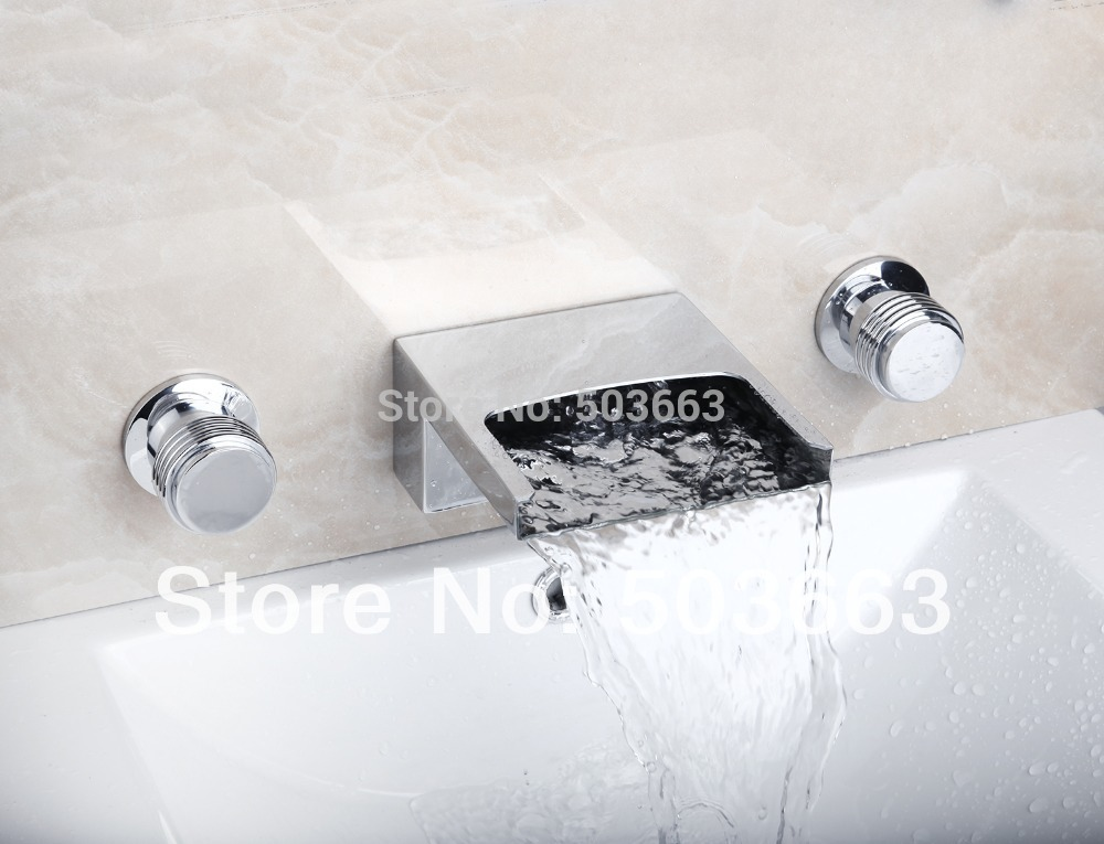 Hot/Cold Water Waterfall Wall Mounted Bathroom Wash Basin Sink Bathtub Chrome Double Handles Mixer Tap Faucet  MF-809 chrome polished wall mounted bathroom sink tub faucet hot and cold water mixer tap