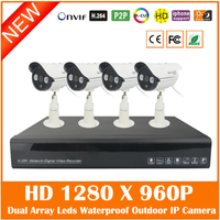 4CH Full HD 1080P H 264 NVR 4Pcs Outdoor Waterproof 1280 960P Security Surveillance MiNi IP