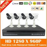4CH Full HD 1080P H 264 NVR 4Pcs Outdoor Waterproof 1280 960P Security Surveillance MiNi IP