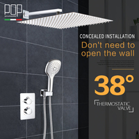 POP Bathroom Luxury Rain Mixer Shower Combo Set 38 Degree Thermostatic Wall Mounted Rainfall Shower Head