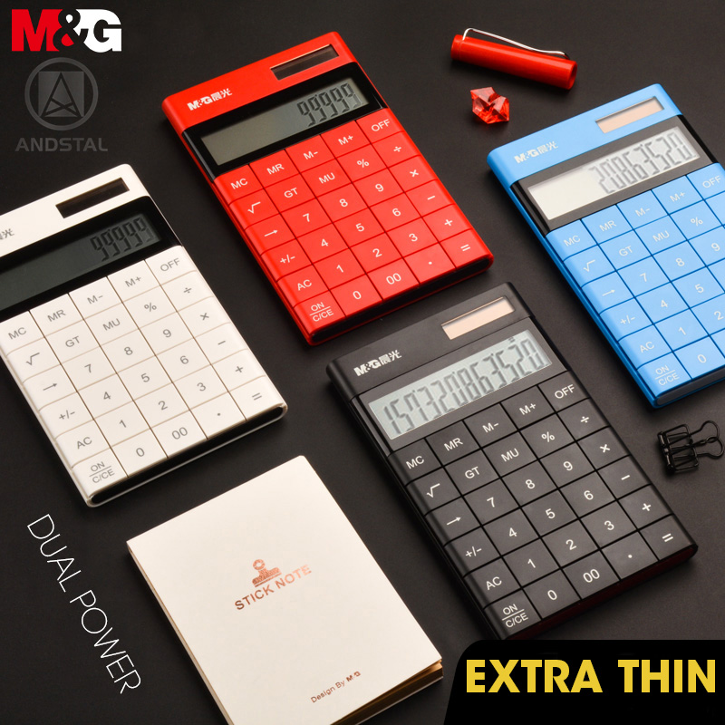 Andstal Modern Tablet Design Dual Power M&G Color Calculator Cute Small Solar Calculator Calculater School Student 12 Digits