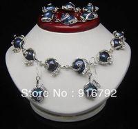 free P&P >>>>>Noble Natural Shape 10-11mm Black Baroque Pearl necklace Bracelets Earring set
