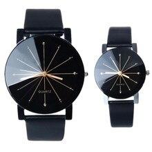 46ac44e14370 Caliente 2018 nueva moda relojes mujeres hombres amantes reloj de cuero del cuarzo  reloj mujer relojes