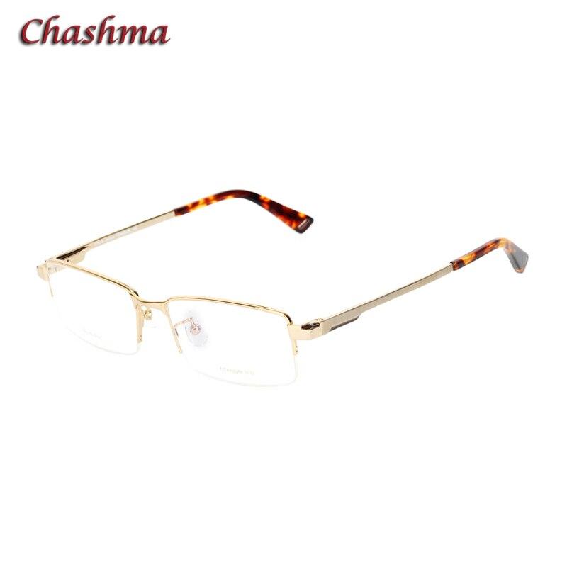 Men Gold Optical Glasses Frame with Spring Hinge Top Quality Titanium Eyeglass for Prescription Lenses No