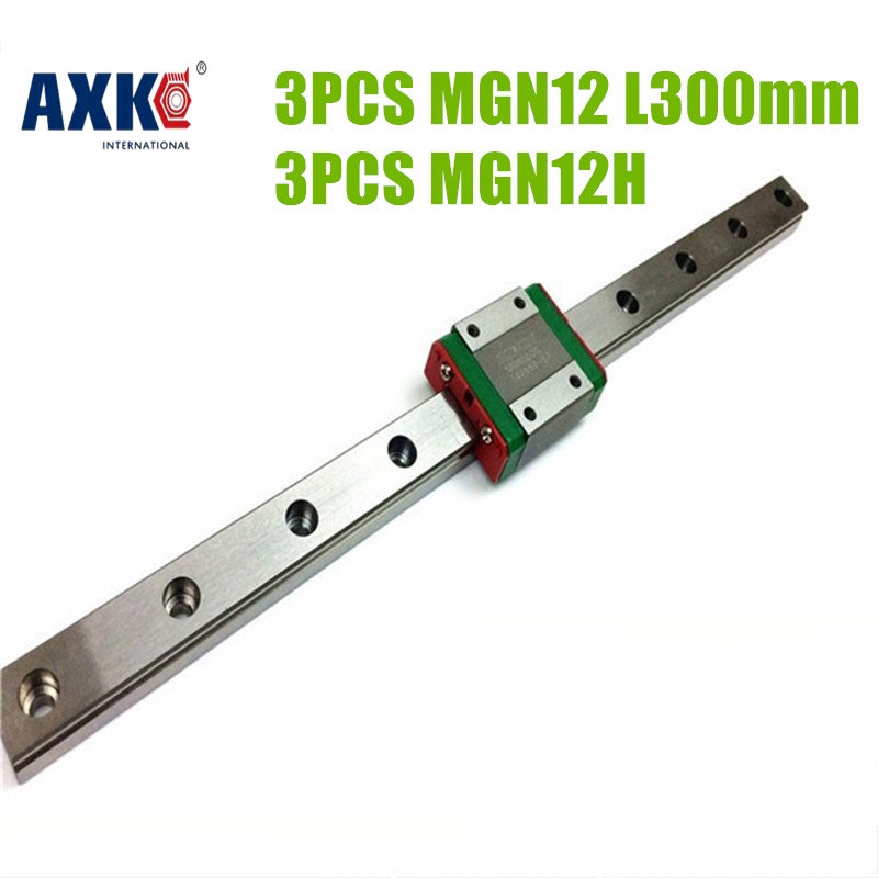 AXK 3D print parts cnc Kossel Mini MGN12 12mm miniature linear rail slide 3pcs 12mm L 300mm rail+3pcs MGN12H carriage MGN12H kossel pro miniature 7mm linear slide 2pcs mgn7 450mm rail 2pcs mgn7h carriage for x y z axies 3d printer parts