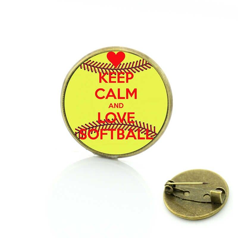 Ventes vintage j'aime Softball verre art métal broches sport amant bijoux pour hommes femmes badge épingles événements cadeaux SP379