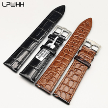 LPWHH 20mm 22mm Crocodile Watchband Strap Metal Buckle Brown Soft Genuine Leather Watch Band Wrist Strap 12mm 14mm 16mm 18mm