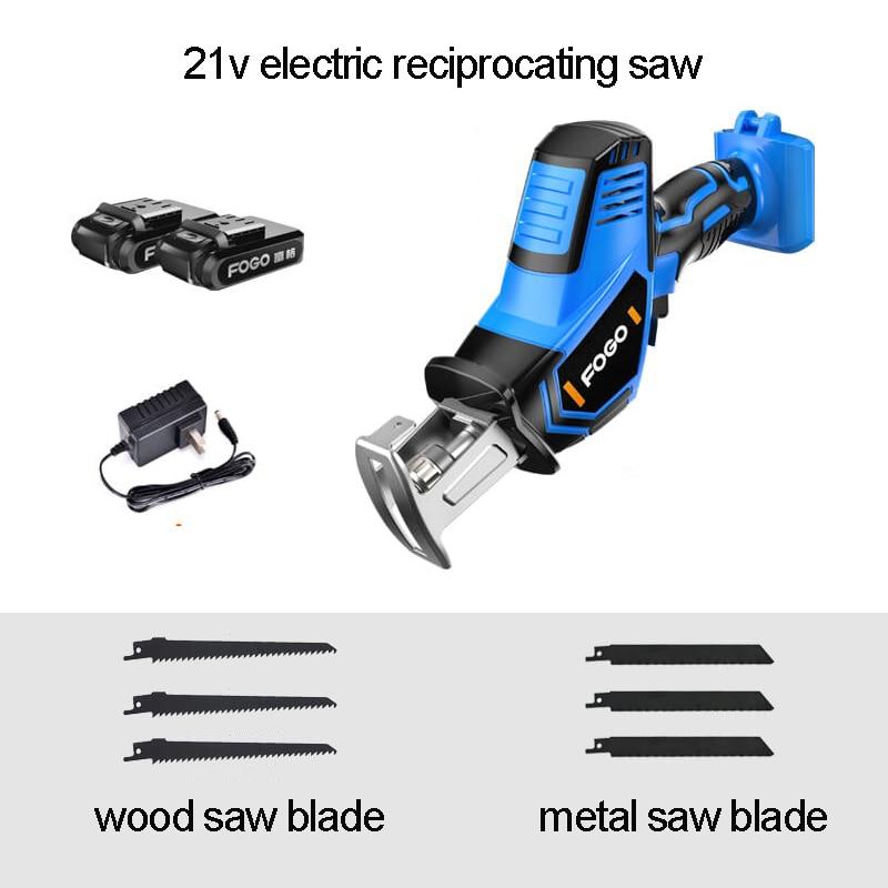 21 v lítio reciprocating serras sabre viu ferramentas elétricas elétricas sem fio portátil jig saw com luz led e 6 pces lâmina de serra