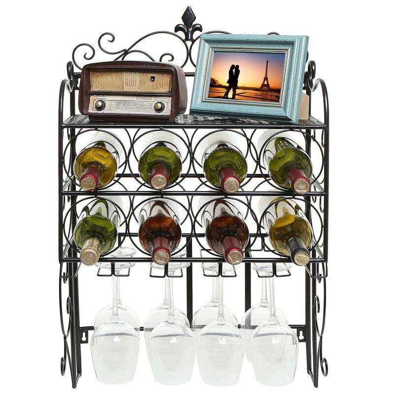 Metal Iron Wall 46x21x75cm Mounted 8 Bottle & 6 Glass Stemware Wine Rack Display Storage Organizer Top Shelf for Sale