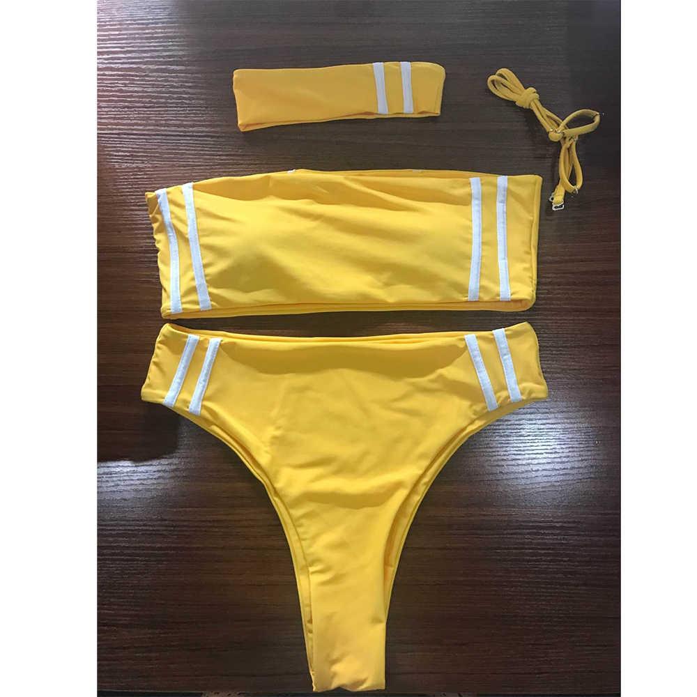 ZAFUL 2019 kobiety Swimsuit wysokiej nogi Bandeau Bikini z Choker stroje kąpielowe paski wysokiej zwężone wyściełane Swwimiung garnitur Biquni