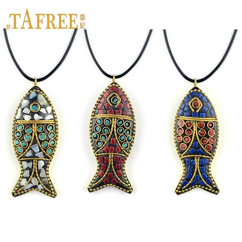 TAFREE  ethnic style necklace Nepal handmade fish pendant necklace sweater chain accessories jewelry MOA840