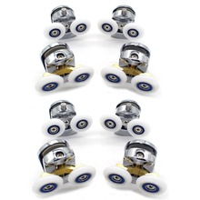 New 8pcs Double Zinc alloy  Shower Door Enclosures Rollers Runners Wheels Pulleys 25mm Dia