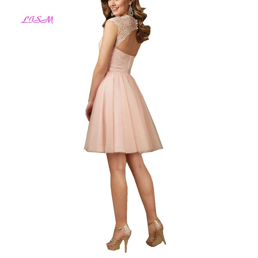 LISM Open Back Sweetheart Lace Prom Dresses Cap Sleeves Empire Sash Bridesmaid Dress Knee Length Short Tulle Party Dresses
