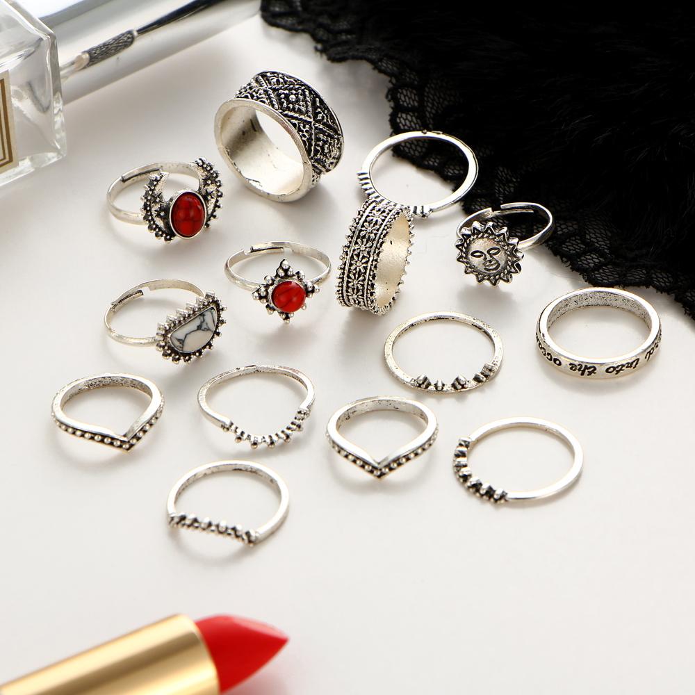 HTB1YOiWQXXXXXXHXVXXq6xXFXXXF Hip 14-Pieces Tribal Boho Vintage Silver Moon And Sun Knuckle Ring Set For Women