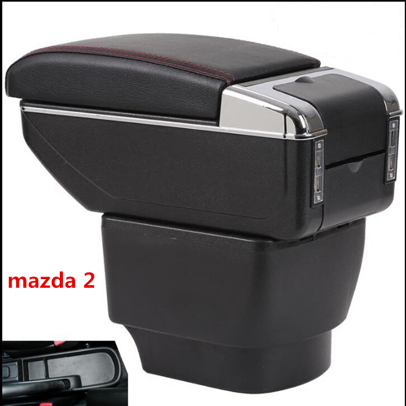 For mazda 2 Armrest Box Car Center Storage Box With Cup Holder Ashtray Stowing Tidying Arm Rest Rotatable Car-styling