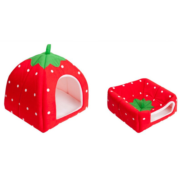 2017 New Practical Foldable Soft Sponge Bed Strawberry Bed Pet Dog Cat Bed House Kennel Doggy Warm Plush Cushion Basket Cat Tent