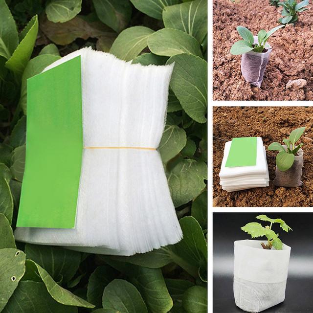 100Pcs 8*10cm non-woven fabric seeding nursery bags Nursery Pots Seedling raising Bags Fabrics Garden Supplies