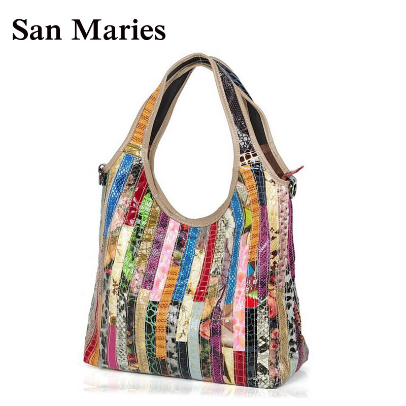 San Maries High Quality Women Handbag Casual Large Capacity Hobos Bag Hot Sell Female Totes Colorful Snake Print Bags-in Top-Handle Bags from Luggage & Bags    1