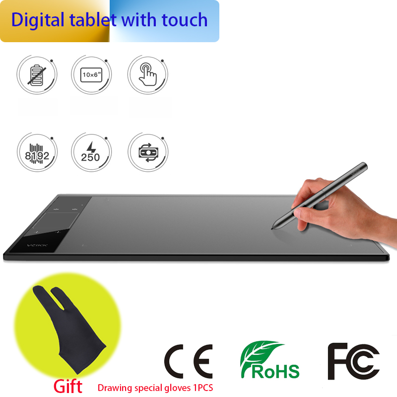 Graphics Drawing Tablet with 8192 levels TYPE C USB Art Drawing Board 10x6 inch Active Area