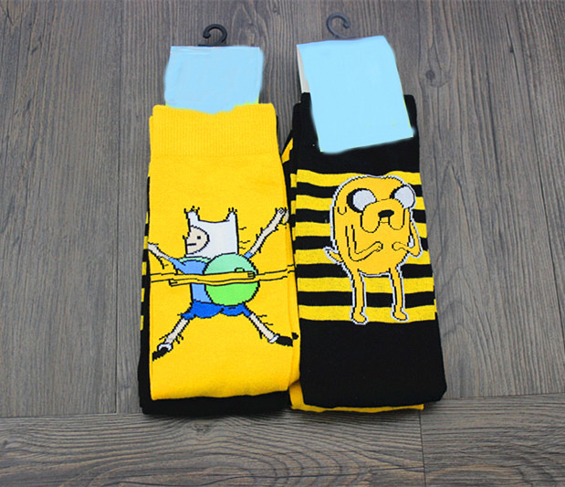 Anime Cartoon Adventure Times Socks Women Men Crew Socks Yellow Street Comics Funny Knee-High Socks Spring Autumn Casual Socks