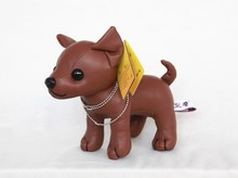 creative toy PU leather dog about 20cm black or brown Chihuahua plush toy Christmas gift h2921