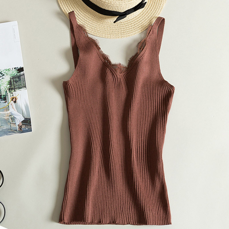 Sexy V-neck Lace Camis Vest Slim   Tops   Fashion Woman Clothes Summer Fitness   Tank     Top   Sleeveless