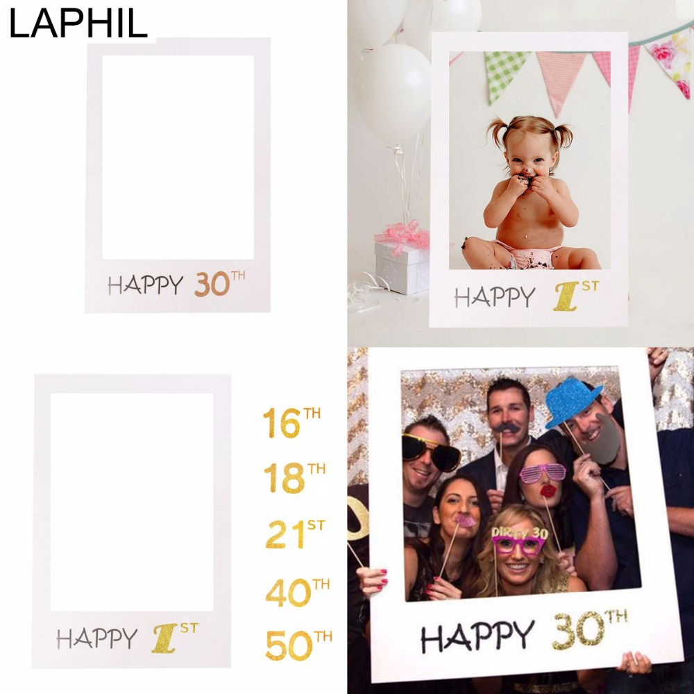 LAPHIL Photo Booth Frame Sweet 16th 18th 21st 30th 40th 50th Happy Birthday Photobooth Props Baby 1st Birthday Party Decorations