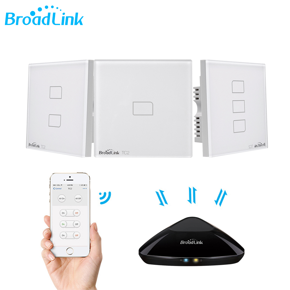 Broadlink TC2 1/2/3 Gang UK Standard Smart Home 433Mhz Wifi/4G Remote Control Via RM Pro Wall Touch Light Switch 1 Way