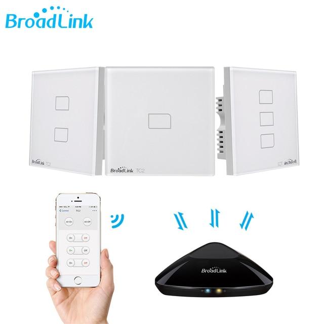 Controlador Broadlink TC2 1/2/3/banda Reino Unido estándar de casa inteligente 433 Mhz Wifi/4G Control remoto A través del interruptor de luz táctil de pared RM Pro 1 vía