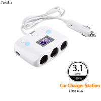 TESSIN Double USB Chargeur De Voiture 3.1A LED Spectacle Tension Courant Temperatur Pour iPhone Samsung Huawei HTC Oppo ASUS GPS DC adaptateur