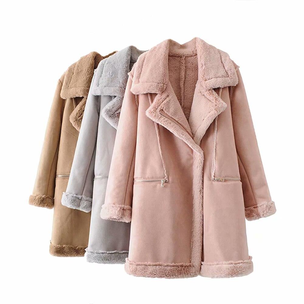 Women's Winter   Suede     Leather   Jacket Motorcycle WomenThicken Lambswool Fur Long   Leather   Coat Female Pink Warm Outerwear Womens