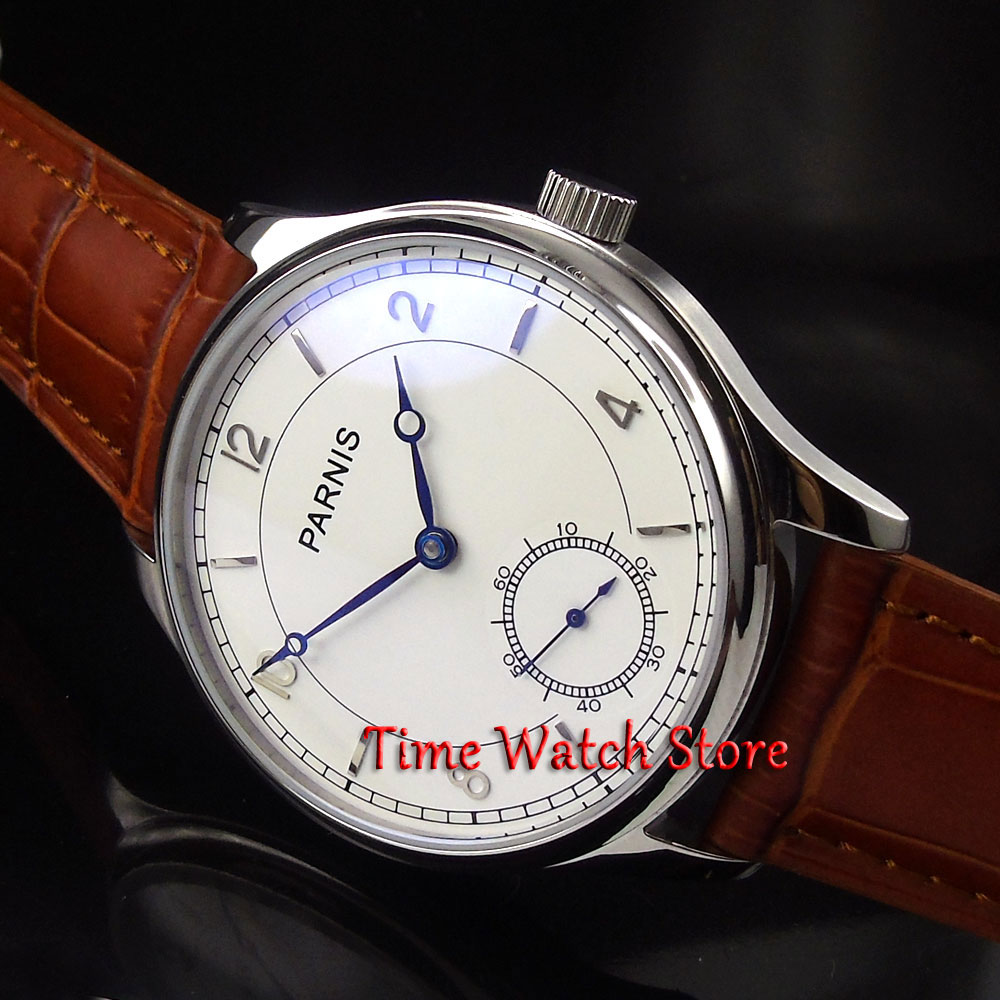 Parnis 44mm fashion white dial blue hands 6498 mechanical hand winding movement Men's watch 29