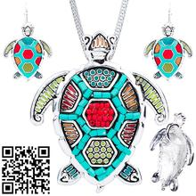 1set NEW Tortoise Necklaces Earrings Sets Alloy Ocean Gold Silver Colour Animal Pendants Jewelry Charm Accessories
